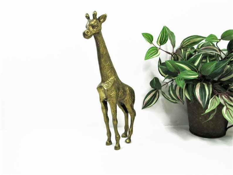 Large Vintage Brass Giraffe Mother Giraffe Nursery Decor image 0