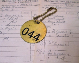 Vintage Brass Cattle Tag on Chain, Number 44, Round Brass Tag