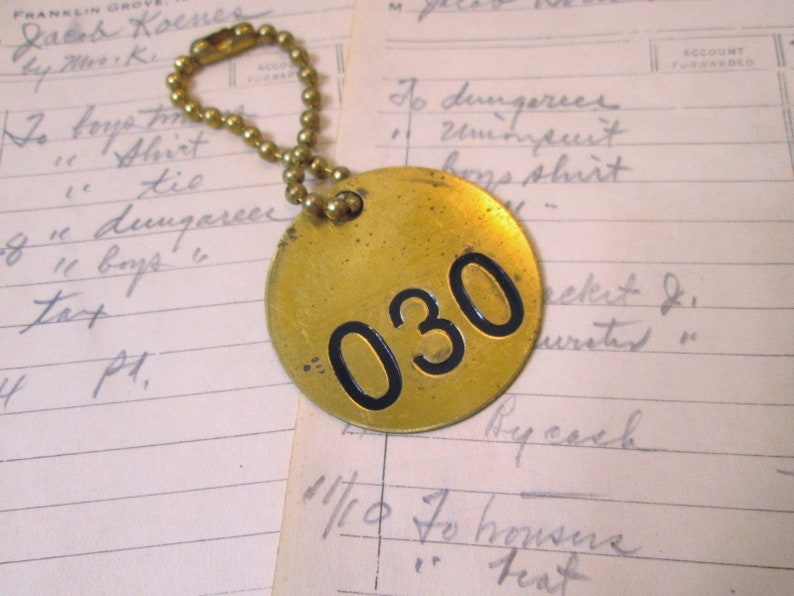 Vintage Brass Cattle Tag on Chain Number 30 Round Cow Key image 0