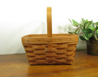 Longaberger Basket,  Medium Spring Basket 1988, Rectangle Woven Basket