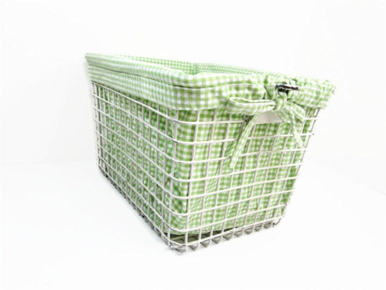 Vintage Locker Basket with Green Checked Fabric Liner Metal image 0