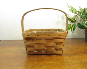 Longaberger Basket,  Medium Berry Basket 1983, Square Basket, Swing Handle