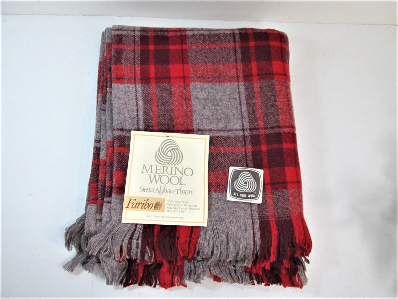 Vintage Virgin Wool Faribo Blanket Red and Gray with tags image 0
