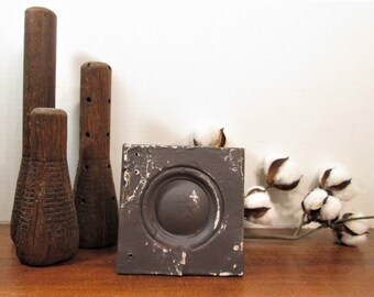 Bullseye Plinth Block, Gray Architectural Salvage