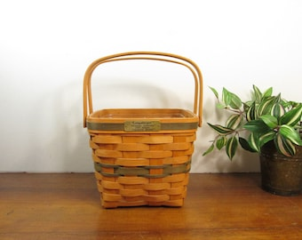 Longaberger Cranberry Basket,  Large Christmas Collection Basket 1995, Tall Square Basket, Swing Handles