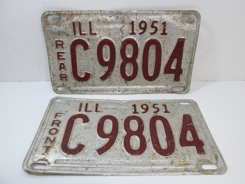 Antique Illinois License Plate 1951 Shorty Truck Plates image 0