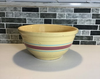 Pottery Glass Bowl, McCoy 10 Inch Pink and Blue Striped Band Mixing Bowl, 1950's Retro Kitchen