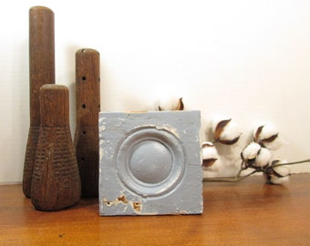 Bullseye Plinth Block, Blue Architectural Salvage