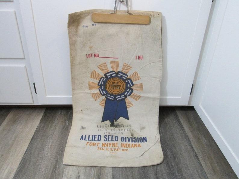 Vintage Seed Sack Blue Ribbon Seeds Bag Red Clover Canvas image 0