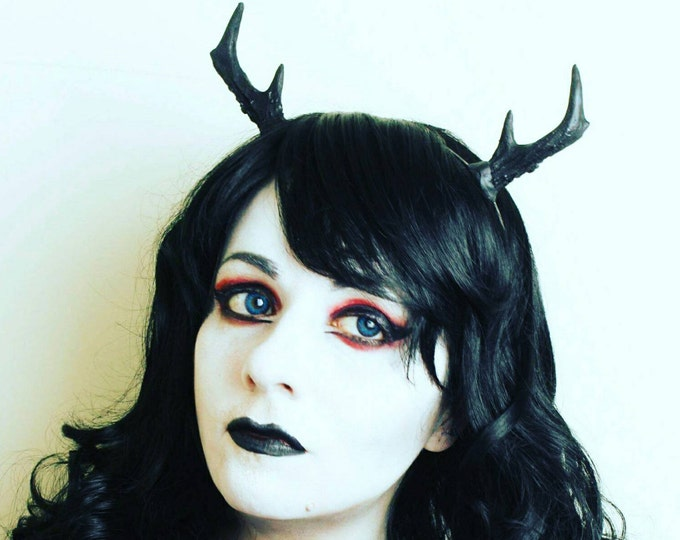 Black Gothic Mini Deer antlers headband - Ready Made