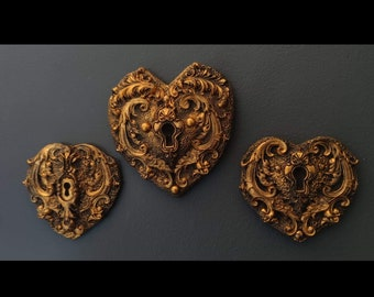 Ancient Chambers - Ornate Heart Lock Set Of 3
