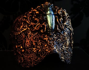 Gold Victorian Beetle Blind Mask Made to Order