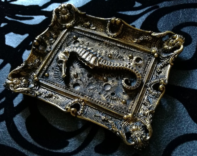 Macabre Mini Wall Art Seahorse Frame - READY MADE (SILVER)