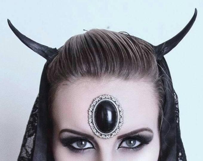 Black Muntjac Devil Horns headband - READY MADE