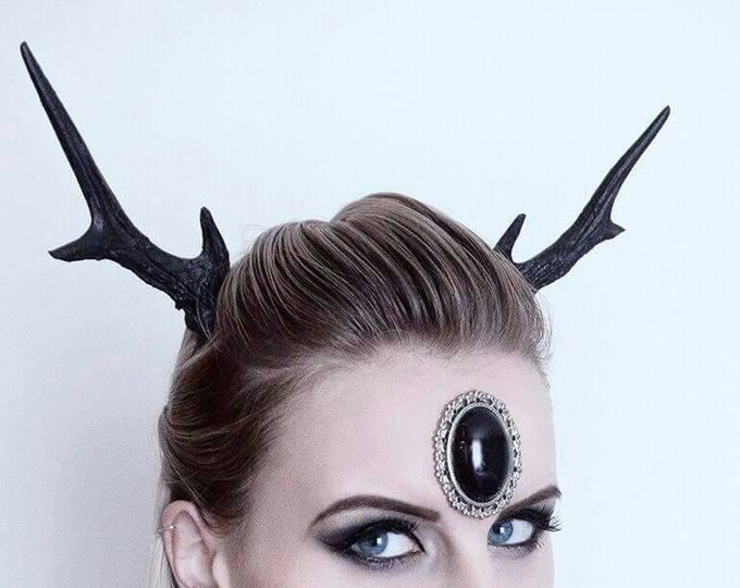 Black Medium Deer Antlers Headband - READY MADE