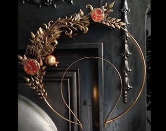 18 - Gold Persephone Pomegranate Halo - Ready Made