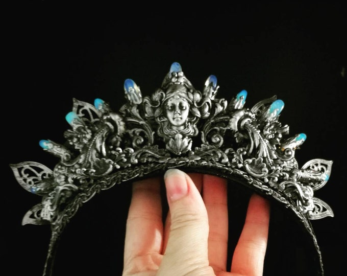 Art Nouveau Inspired Crystal Crown With Opalite Crystals