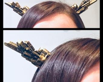 Resin Cast Crystal Horn Headband - Gold