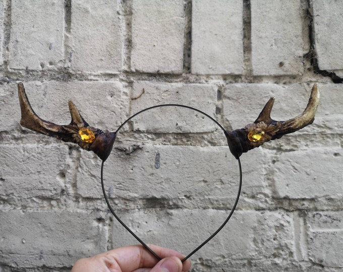 Natural tone Crystal Deer Antlers Small