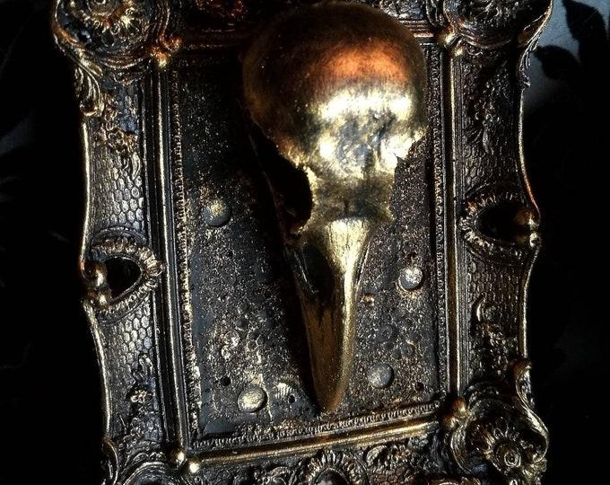 Macabre Mini Wall Art Crow Skull Frame