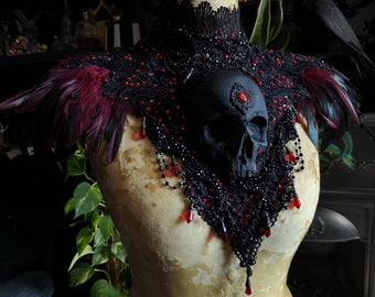Vampire Countessa Catacomb Couture Feather and Skull Shoulder Piece