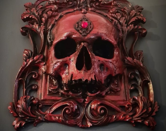 Halloween - Skull Wall Plaque In Blood Red