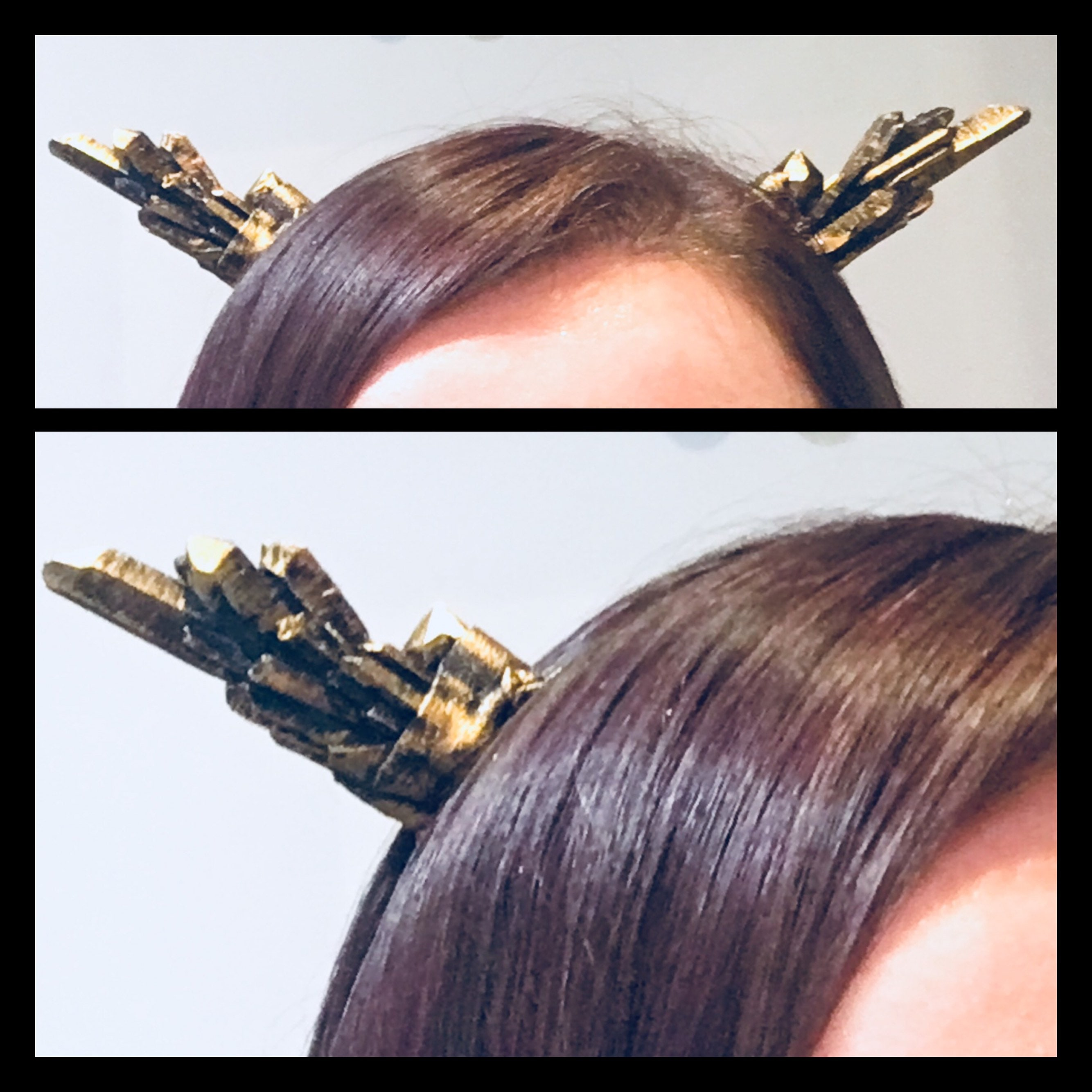 Resin Cast Crystal Horn Headband - Gold