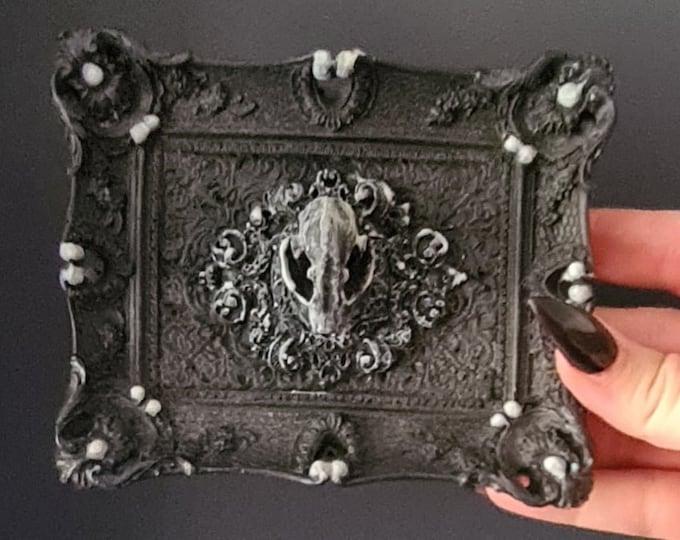 Glow In The Dark - Macabre Mini Wall Art Bat Skull Frame