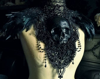 Midnight Black Catacomb Couture Feather and Skull Shoulder Piece