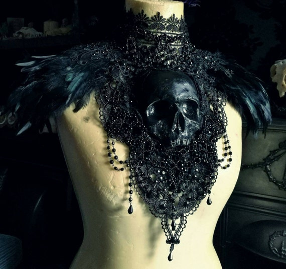 Midnight Black Catacomb Couture Feather And Skull Shoulder Piece by Etsy