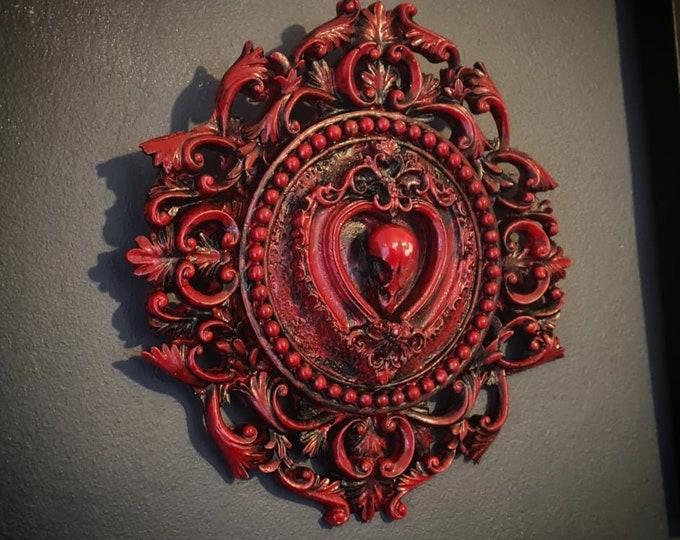 Halloween - Bird Filigree Circle Frame In Blood Red