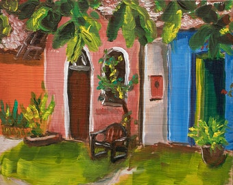 "Small Original Oil Painting ""In Brazil"" Colorful Tropical Landscape Vignette"