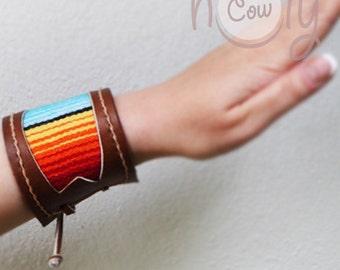 Handmade Brown Leather Serape Bracelet, Tribal Bracelet. Hippie Bracelet, Serape Bracelet, Boho Bracelet, Leather Bracelet, Womens Bracelet