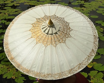 Hand Painted White Waterproof Parasol With FREE Umbrella Bag, White Umbrella, White Parasol, Wedding Umbrella, Wedding Parasol, Parasol