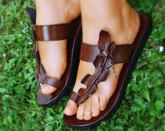 74ceccbad5bf Handmade Brown Leather Leaf Sandals