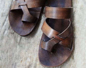 Handmade Brown Leather Sandals, Mens Sandals, Womens Sandals, Mens Leather Sandals, Leather Sandals Women, Womens Boho Shoes, Hippie Sandals