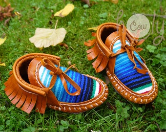 62d8345fae3628 Hand Stitched Brown Leather Baby Cowboy Serape Moccasins, Cowgirl  Moccasins, Baby Moccasins, Toddler Moccasins, Baby Shower Gift, Baby Boots