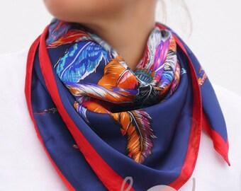 Multicolored Silk Feather Scarf abf88f34ebc1d