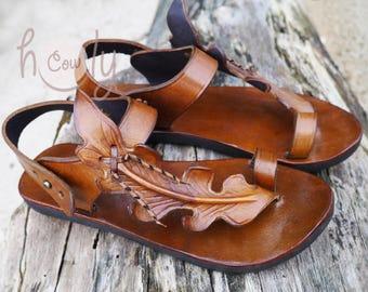 ea078e0de Handmade Brown Leather Leaf Sandals