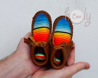 19fde56420445b Handmade Brown Leather Baby Cowboy Serape Moccasins, Baby Moccasins,  Toddler Moccasins, New Mom Gift, Baby Shower Gift, Kids Moccasins, Baby