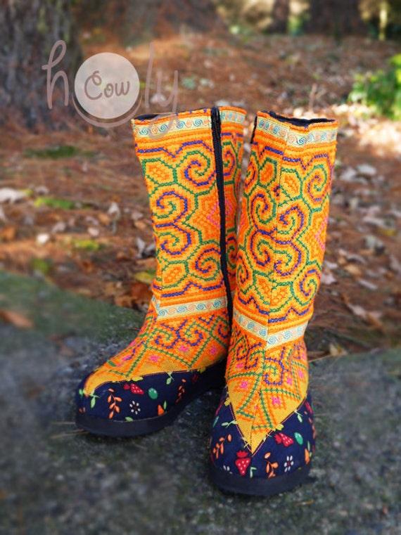 Women's Boots Vegan Boots Boots Tribal Hippie Boots Orange Boho Boots Boots Boots Boots Ethnic Vegan Tribal Hmong Womens Boots pp1r4
