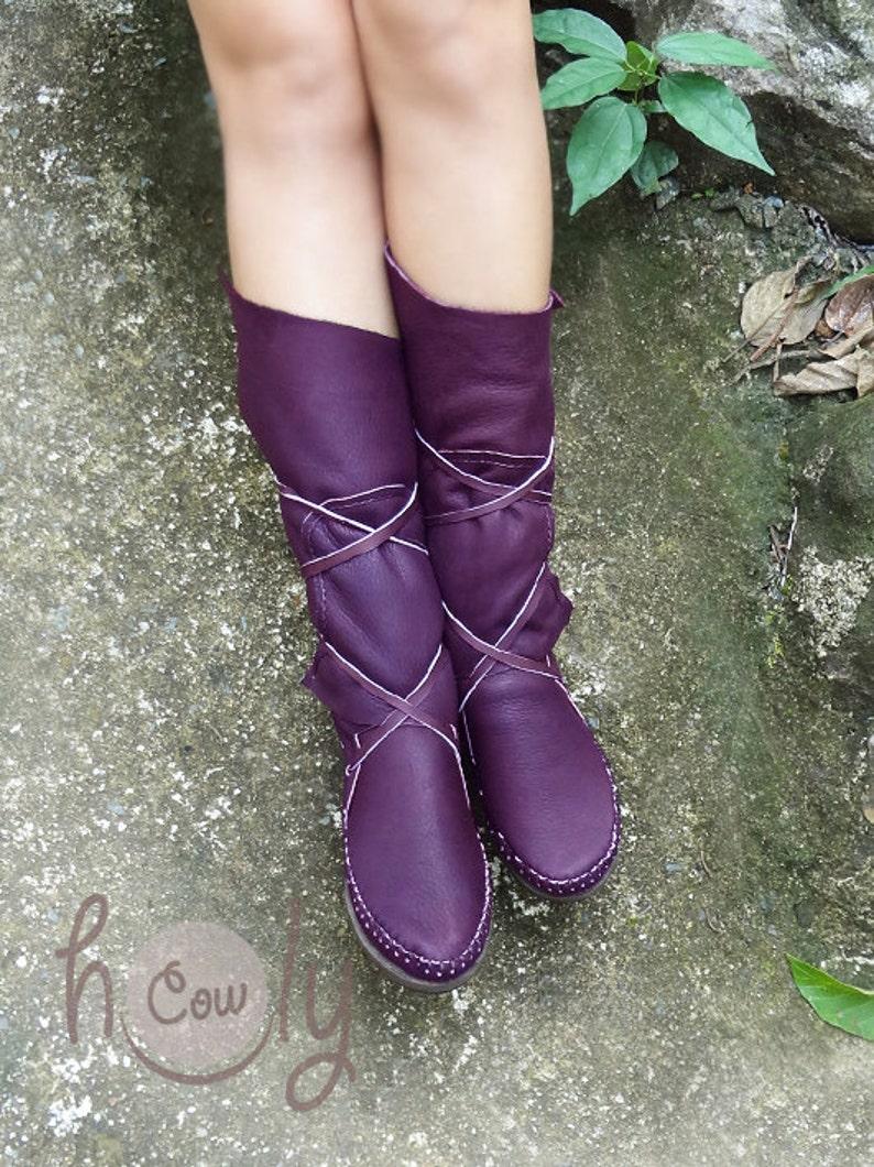 dfa193e4fae Hand Stitched Purple Leather Moccasins, Moccasin Boots, Womens Moccasins,  Leather Moccasins, Mens Leather Boots, Womens Boots, Purple Boots