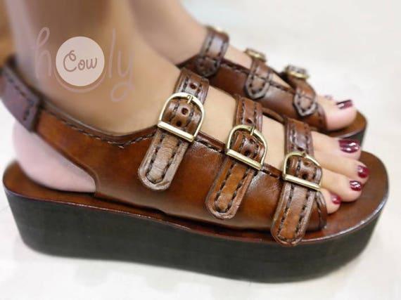 Platform SandalsWomens ShoesHippie Cowgirl Brown Leather Boho Handmade Sandals rCshdQxt