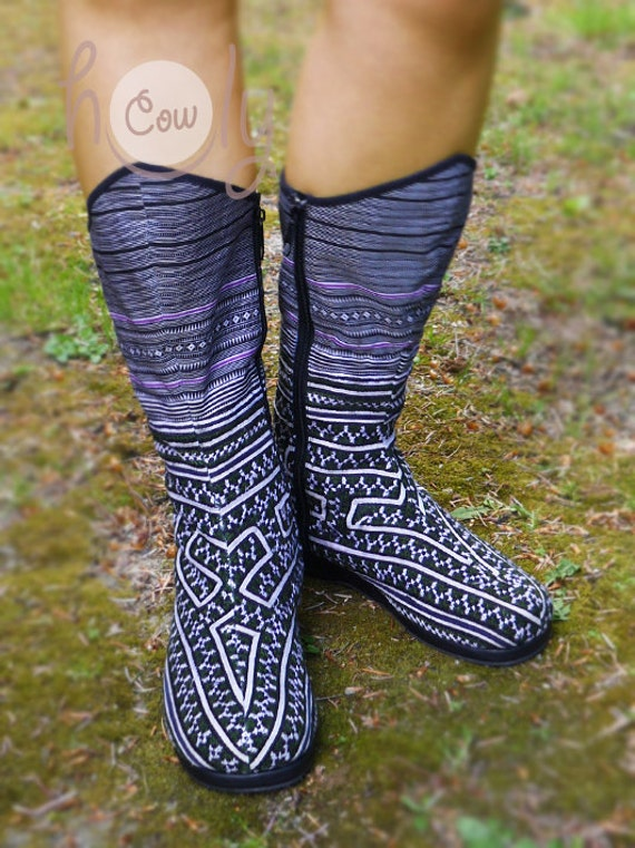 Black Women's Boots Boots Boots Boots Vegan Boots Boho Boots Hmong Hippie Tribal Boots Boots Womens Tribal Boots Boots Ethnic Vegan wSqZrw