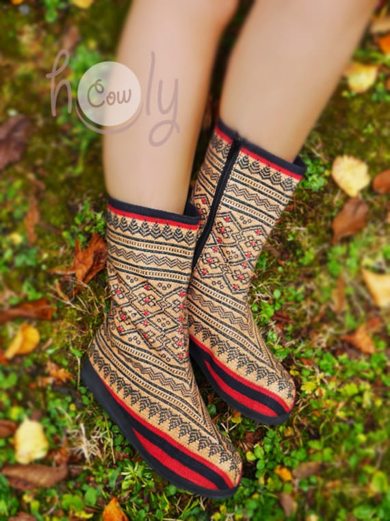 Gypsy Tribal Boots Boho Boots Boots Tribal Vegan Boots Boots Ethnic Women's Boots Boots Boots Women's Hmong Hippie Boots Vegan dxwZqOd