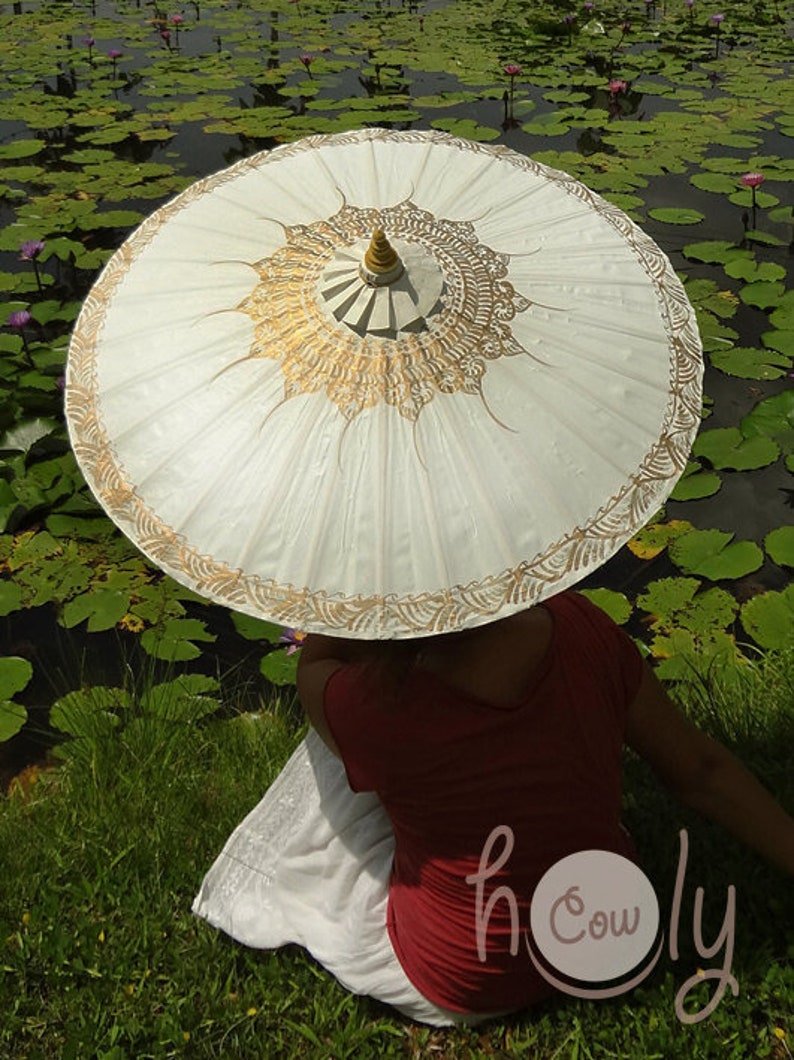Hand Painted White Waterproof Parasol With FREE Umbrella Bag image 0