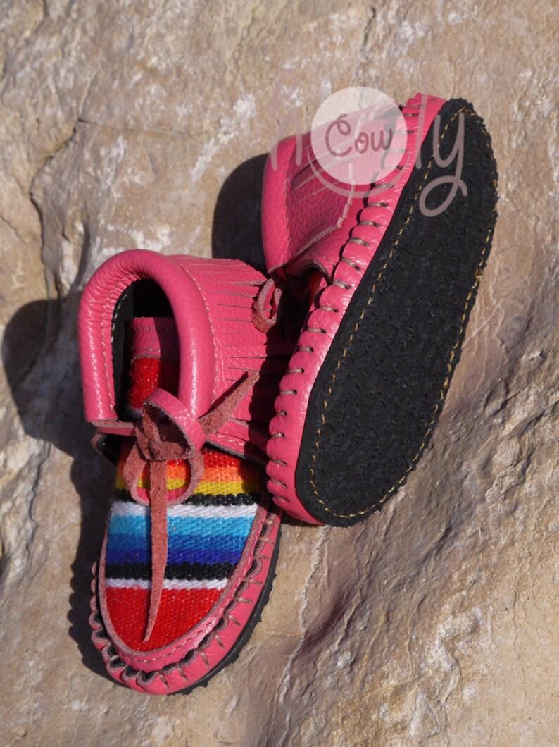9674da6d0d9b7d Handmade Pink Leather Baby Cowboy Serape Moccasins Baby | Etsy