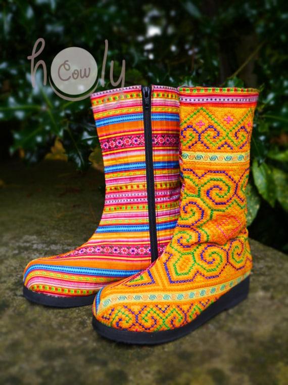 Boots Hmong Orange Tribal Vegan Tribal Boots Vegan Boots Boots Hippie Boots Women's Boho Boots Boots Ethnic Boots Women's Boots RzEqww