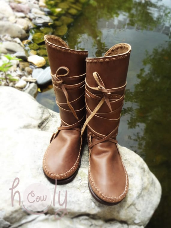 Leather Moccasins Mens Moccasins Womens Boots Womens Moccasins Leather Boots Hand Stitched Brown Leather Moccasins Moccasin Boots