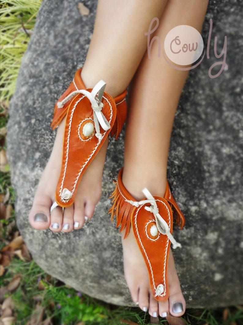 df401054f3192 Hand Stitched Orange Leather Barefoot Sandals, Leather Sandals, Barefoot  Sandals, Womens Sandals, Mens Sandals, Mens Sandals, Orange Sandals